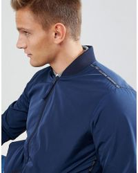 Hollister Core Bomber Jacket Taped Sleeve Logo In Navy - Blue
