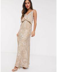 ASOS - Атласное Платье Макси С Вышивкой, Драпировкой И Свободным Вырезом На Спине - Lyst