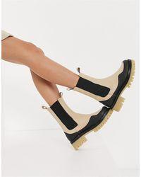 ASOS Admire Premium Leather Chunky Chelsea Boots - Multicolour