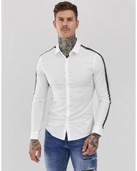 ASOS Skinny-fit Wit Overhemd Met Tape-detail