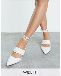 ASOS Wide Fit Shani Woven Tie Leg Mid Heeled Shoes - White