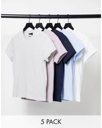 ASOS 5 Pack Organic T-shirt With Roll Sleeve - Multicolour
