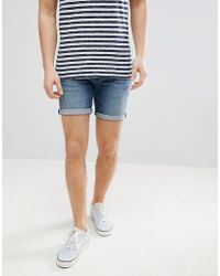 ASOS - Denim Shorts In Skinny Mid Wash With Abrasions - Lyst