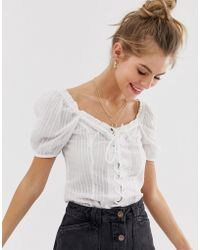 New Look Puff Sleeeve Blouse In Off White