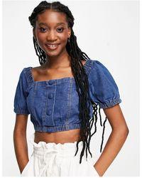 Lola May Denim Puff Sleeve Crop Top - Blue
