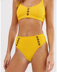 Warehouse Crinkle Bikini Bottoms With Button Detail - Yellow