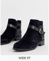 New Look Suede Buckle Detail Flat Boots - Black