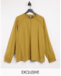 Reclaimed (vintage) Inspired Long Sleeve Raglan Seam Detail T-shirt - Yellow