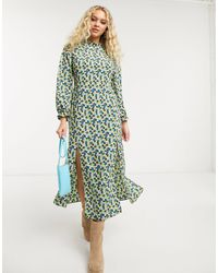 TOPSHOP Robe mi-longue à col montant - Vert fleuri