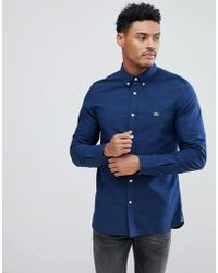 Lacoste - Slim Fit Patterned Shirt In Navy - Lyst