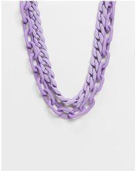 ASOS Multirow Necklace - Purple