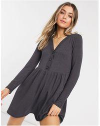 New Look Vestido corto gris estilo cárdigan