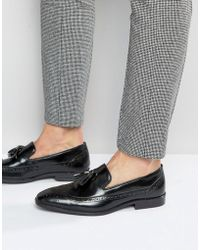 ASOS - Asos Brogue Loafers In Black Leather With Tassel - Lyst