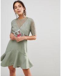 7b0b8f139e8d For Love & Lemons Rosebud Ruffle Mini Dress in White - Lyst