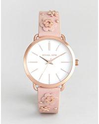 Michael Kors - Mk2738 Portia Flora Embellished Leather Watch - Lyst