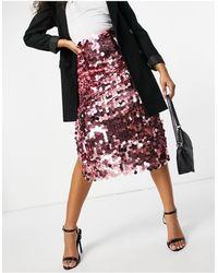 Never Fully Dressed Disc Sequin Midi Skirt - Pink