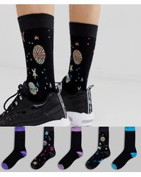 ASOS 5 Pack Ankle Socks With Ombre Space Design Save - Black