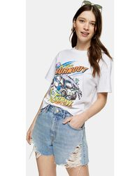 TOPSHOP Shorts vaqueros mom azul medio lavados con diseño rasgado - Marrón