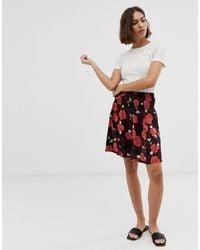 Ichi Falda con estampado floral - Rojo