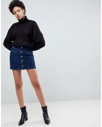 29321133d Bershka Button Up Skirt In Khaki in Green - Lyst