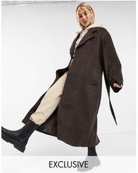 Collusion - Коричневое Длинное Ворсистое Пальто Из Искусственной Шерсти -коричневый Цвет - Lyst