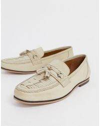 ASOS Loafers In Stone Leather With Woven Detail - Natural