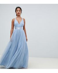 ASOS - Asos Premium Petite Tulle Maxi Prom Dress With Ribbon Ties - Lyst