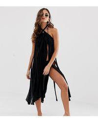 ASOS Beach - Vestito pareo con spacchi da indossare - Nero