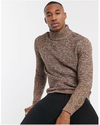 SELECTED Roll Neck Sweater - Brown