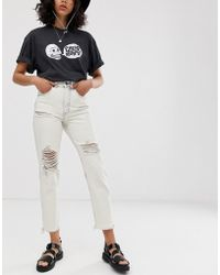 Cheap Monday Organic Cotton Donna Rigid Mom Jeans With Distressing - White