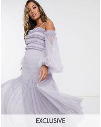 LACE & BEADS Серо-сиреневое Платье Макси С Открытыми Плечами И Прозрачными Пышными Рукавами -серый - Пурпурный