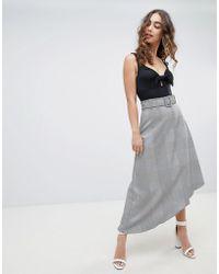 River Island - Check Asymmetric Midi Skirt - Lyst