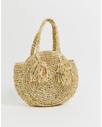 South Beach - Structured Round Straw Beach Bag With Long Handle - Lyst