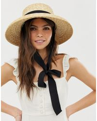 ASOS Turned Edge Natural Straw Hat With Changeable Ties - Brown
