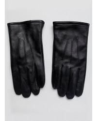 ASOS Gants en cuir permettant d'utiliser un écran tactile - Noir