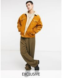 Reclaimed (vintage) Inspired Cord Trucker Jacket With Borg Lining - Brown