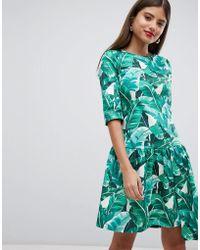 Closet - Drop Hem Tropical Print Dress - Lyst