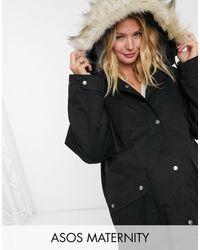 ASOS Asos Design Maternity Faux Fur Lined Parka - Black