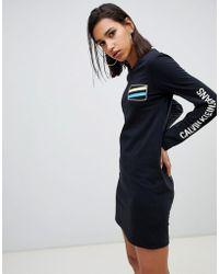 Calvin Klein Платье-футболка С Длинными Рукавами И Логотипом - Синий