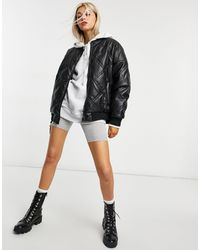 Noisy May Benny Quilted Bomber Jacket - Black