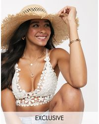South Beach Exclusive Wide Brim Straw Hat With Frayed Edge - Natural