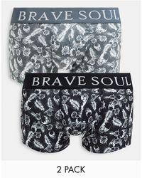 Brave Soul 2 Pack Boxers With Skull Print - Black