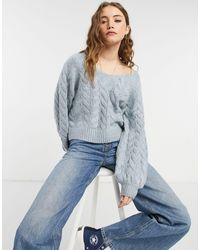 Abercrombie & Fitch Cable Knit Boat Neck Jumper - Blue