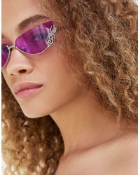 Bershka Occhiali da sole cat-eye senza bordo con dettaglio sulle lenti, colore viola