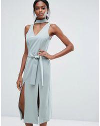 Lavish Alice - Keyhole Tie Belt Double Split Midi Dress - Lyst
