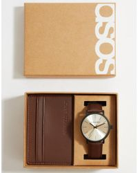 ASOS - Leather Gift Set With Watch And Cardholder In Brown - Lyst