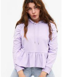 Monki Худи Сиреневого Цвета Из Органического Хлопка С Оборкой По Краю Siw-фиолетовый - Многоцветный