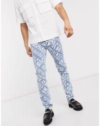 Versace Jeans Couture Выбеленные Узкие Джинсы С Логотипом -синий