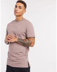 ASOS Camiseta larga marrón con aberturas laterales