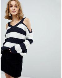 Vero Moda - Cold Shoulder Striped Jumper - Lyst